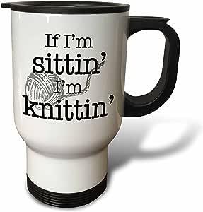 evadane–趣语–IF IM sittin IM knittin ,黑色–旅行杯 白色 14 oz