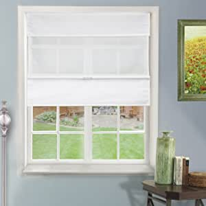 """Chicology Natural Woven Fabric Cordless Magnetic Roman Shade, 31"""" x 64"""", Daily White"""