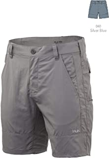 HUK 男士 Rogue 18 英寸户外可调节腰带轻质快干钓鱼短裤