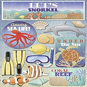 Karen Foster Design Acid and Lignin Free Scrapbooking Sticker Sheet, Let's Snorkel