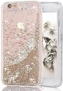 iPhone 6Plus 手机壳,疯狂熊猫3d 创意清澄闪亮款设计 iphone 6plus Liquid 流沙 Bling 可爱飘逸浮动 Moving SHINE 闪亮款保护套 iphone 6plus / 6S Plus 02-Silver color