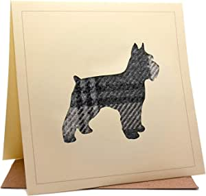 Lambacraft Scottie Scotty Dog 设计粗花呢格子呢羊毛面料剪影苏格兰苏格兰生日贺卡 内含 1 件