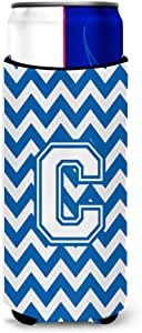 Caroline's Treasures CJ1045-BTBC Letter B Chevron Blue and White Tall Boy Koozie Hugger, Multicolor
