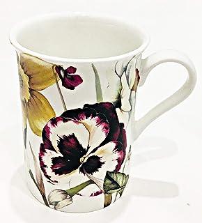 花朵花朵在白色精致骨架瓷杯咖啡茶拿铁咖啡杯| Gracie Stechol 出品