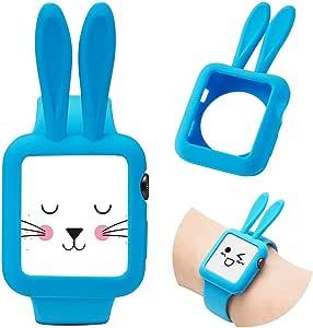 Josi Minea Apple Watch [42 毫米] 扣合式保护壳带兔耳朵 - 高级防刮和防震硅胶保护套适用于 Apple Watch 系列3、2 和 1-42 毫米 浅蓝色