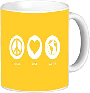 Rikki Knight Peace Love Earth Yellow Color Photo Quality Ceramic Coffee Mug, 11-Ounce