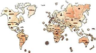 3D 木制地图模型套装 The World Map - 3d Wooden Map - Big
