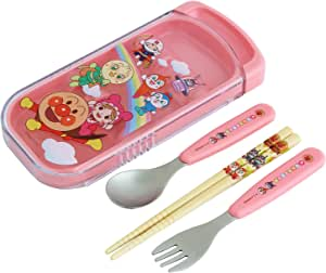 LEC 面包超人 滑动式 3 件套(筷子・餐勺・餐叉) 粉色