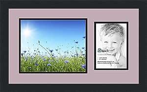 ArtToFrames 字母照片相框,带 1-5x7,8x10 开口。 缎面黑框。 薰衣草喷雾 5x7 Double-Multimat-190-805/89-FRBW26079