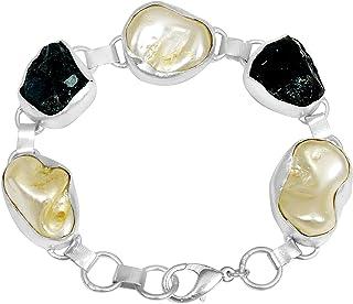 兰花珠宝黄色/白色镀金实心黄铜链女士手镯  花式切割多宝石时尚女孩手镯  送给女士的美丽时尚的生日礼物