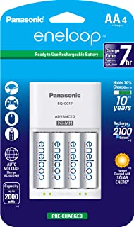 Panasonic 松下eneloop愛樂普4節充電器套裝 + eneloop AA 新2100循環充電電池,4包,白