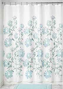 "InterDesign Azalea Soft Fabric Shower Curtain, 72"" x 72"", Mint/Slate Blue"