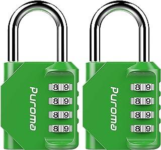 Puroma 2 件装密码锁 4 位密码挂锁,适用于学校健身锁、运动锁、围栏、工具箱、壳、Hasp Storage * 3.15 x 1.73 x 0.87 inches TH002G