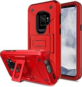 Galaxy S9 手机壳,Venoro 超薄防震混合三层坚固防撞保护手机保护壳,适用于三星 Galaxy S9 / SM-G960U / SM-G960F 红色