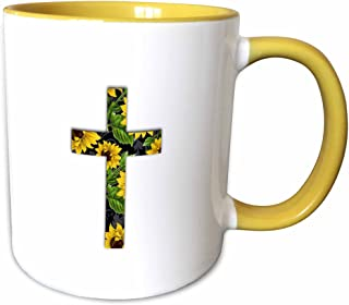 3dRose InspirationzStore 基督教设计 - 向日葵图案基督教十字架 - 黑色和黄色花卉耶稣受难像- 马克杯 黄色/白色 15-oz Two-Tone Yellow Mug mug_185475_13