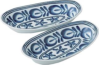 西海陶器 波佐见烧 现代蓝 咖喱碗 餐具 成对 28.5×16 cm 箱装 52048