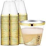 255.1gram GOLD rimmed 塑料杯透明塑料水杯–一次性 HARD 派对婚礼塑料杯60pack-wdf Gold Trim