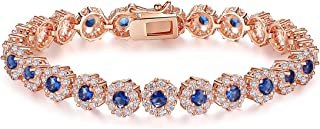 bamoer 经典玫瑰金镀金手链带闪亮方晶锆石适用于女式女孩完美送给她的礼物