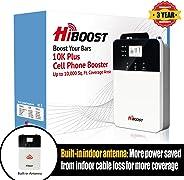 HiBoost 手機信號增強器,適用于家庭和辦公室信號延長器蜂窩擴音器信號放大器,高達 1,000-10,000 平方英尺,兼容 AT&T、T-Mobile、Verizon、Sprint 等 10K Plus