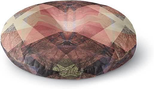 "KESS InHouse Pia Schneider 图案花园 3 号珊瑚褐色几何圆形地板枕,58.42 cm x 58.42 cm 多种颜色 26"" x 26"" PS1035ARF02"