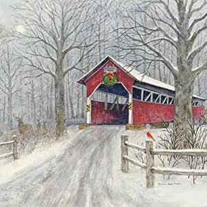 "Legacy Publishing Group Cover Bridge In Snow 3.75 x 3.75"" CST48346"