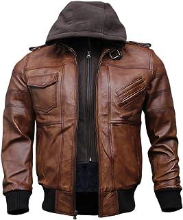 男式正品黑色连帽飞行员皮夹克   真羊皮打蜡棕色皮夹克,配有可拆卸帽子