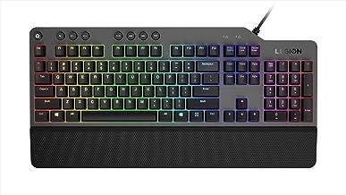 Lenovo 聯想 Legion K500 RGB 機械游戲鍵盤,3 區全尺寸鍵盤,7 個用戶可編程熱鍵;1680 萬色 RGB 色彩,50 萬個點擊紅色機械按鍵,可拆卸手掌托