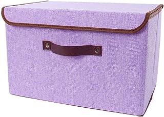 "uxcell 亚麻织物可折叠收纳箱带盖和人造皮革提手、储物玩具盒收纳盒 用于衣物家庭办公室橱柜卧室 紫色 9.8""x7.9""x6.7""(Small) a18092500ux0027"