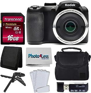 Kodak PIXPRO AZ252 Astro Zoom 16MP 数码相机 + 点阵相机套 + Transcend 16GB SDHC Class10 UHS-I 卡 400X 存储卡 + USB 读卡器 + 桌面三脚架 + 配件AZ252-BKK1  黑色