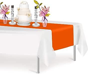 高级塑料桌巾 35.56 x 274.32 厘米。 Grandipity 装饰桌巾,适用于晚宴派对和活动,装饰 6-12 件装 橙色 1 Pack Rectangle
