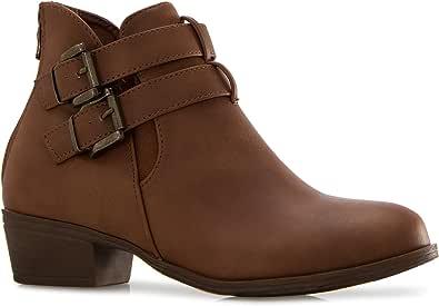 OLIVIA K 女式休闲基本款及踝短靴 - 金色扣装饰西式风格易穿脱 Tan Cut Out 7 M US