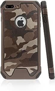 Amyehouse PU 皮带 TPU 混合双层缓冲军迷彩保护套适用于 5.5 英寸 Iphone 7 Plus 棕色