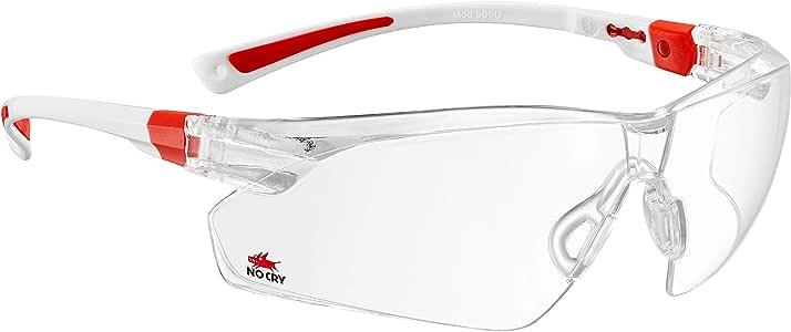 NoCry 护目镜 透明防雾防划贴面式镜框 防滑柄 防紫外线 可调节 白色和红色镜框