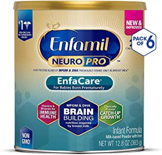 MeadJohnson 美赞臣 Enfamil 铂睿 NeuroPro EnfaCare 早产儿奶粉,12.8盎司(363克,6件装)——MFGM,Omega 3 DHA,益生元,铁