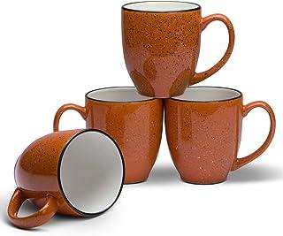 Serami 14盎司(约397毫升)咖啡或茶小酒馆马克杯大手柄和陶瓷结构,4件套 日落橙色