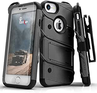 zizo Bolt 系列 iphone 4/ 7保护套–钢化玻璃屏幕带皮套和3.7m *级下垂测试 Black & Black