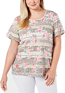 Karen Scott 女式加大码短袖印花 T 恤,尺码 1X,珊瑚衬里