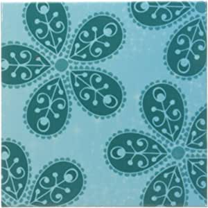 3dRose cst_110323_3 Teal Boho Flowers Bohemian Hippi Chic-Ceramic Tile Coasters, Set of 4