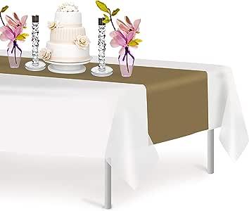 高级塑料桌巾 35.56 x 274.32 厘米。 Grandipity 装饰桌巾,适用于晚宴派对和活动,装饰 6-12 件装 金色 12 Pack Rectangle