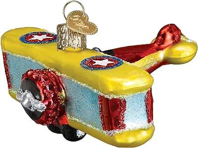 Old World 圣诞节玻璃吹制装饰品,带 S 型挂钩和礼品盒,自动系列 Biplane 46072