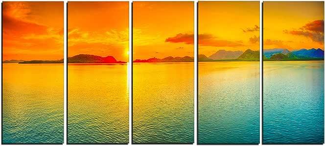 "designart 4Panel "" 日落 OVER Sea panorama 海景摄影 "" 油画印刷品"