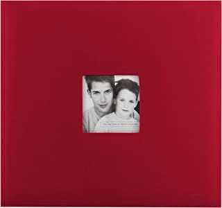MBI by MCS Fashion Fabric 12-Inch by 12-Inch Page Top Load Scrapbook with Photo Opening, Red, 13.2 x 12.5 Overall