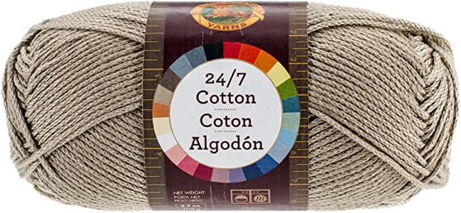 Lion Brand Yarn 761-122 24-7 Cotton Yarn, Taupe