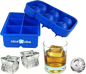 niceCube 硅胶冰块托盘和模具 6 Large Cube + Ball Combo Set