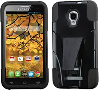 MYBAT Advanced Armor Kickstand Protector Cover for Alcatel 7024W One Touch Fierce - Retail Packaging Black Inverse