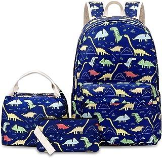 VIDOSCLA 3 件套背包小学生背包小学生书包学生背包带午餐盒 蓝色