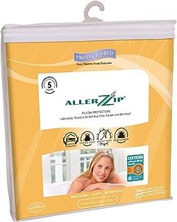 AllerZip 枕套 - 块状床罩、灰尘螨、*原 & 防水(2 只装) 白色 King BOM1180F