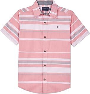 Calvin Klein 男童短袖纽扣梭织衬衫