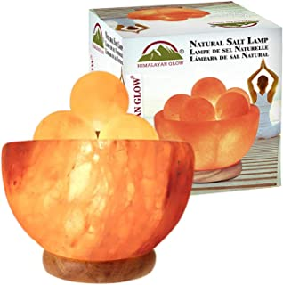 喜马拉雅发光粉色盐灯带 5 颗宝石按摩球,夜灯,木质底座 | 6-8 磅