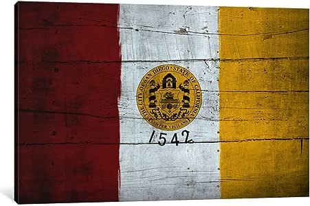 "iCanvasART 3 件套圣地亚哥国旗 - Darklord 木板油画印刷品,101.6 x 152.4 厘米/3.81 厘米深 18"" x 12"" FLG338"